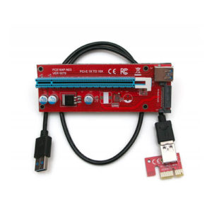 Райзер PCI-E 1X-16X с разъёмом питания SATA